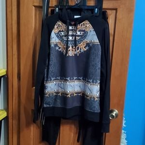 G by Guess Snakeskin and Gold Chain Hoodie